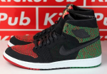 Air Jordan 1 Retro High Flyknit 'BHM' Black/Lucid Green/University Red-Black For Sale